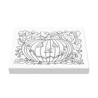 Masquerade Pumpkin Spiders Line Art Design Canvas Print