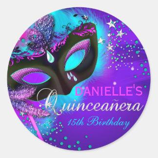 Masquerade Purple & Teal Quinceanera Sticker