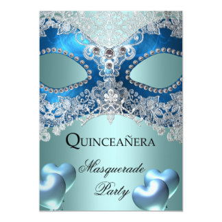 Masquerade Quinceanera 15 Blue Birthday Party Card