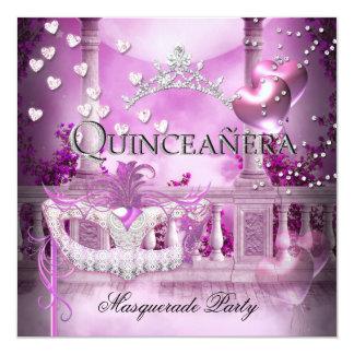 Masquerade Quinceanera 15 Pink Party 13 Cm X 13 Cm Square Invitation Card