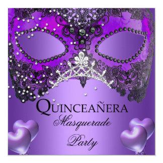 Masquerade Quinceanera 15 Purple Birthday 13 Cm X 13 Cm Square Invitation Card