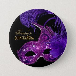 Masquerade quinceañera birthday pink, purple mask 7.5 cm round badge
