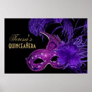Masquerade quinceañera birthday pink, purple mask poster