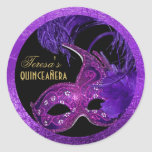 Masquerade quinceañera birthday pink, purple mask round sticker