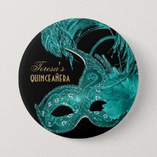 Masquerade quinceañera birthday turquoise mask 7.5 cm round badge