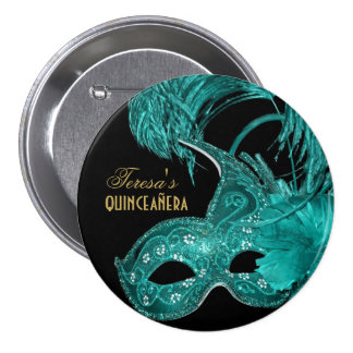 Masquerade quinceañera birthday turquoise mask pinback button