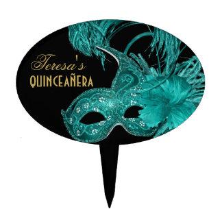 Masquerade quinceañera birthday turquoise mask cake picks