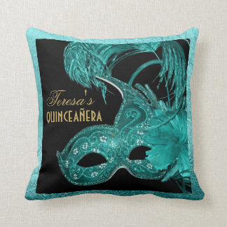 Masquerade quinceañera birthday turquoise mask cushion