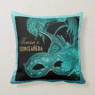 Masquerade quinceañera birthday turquoise mask cushion