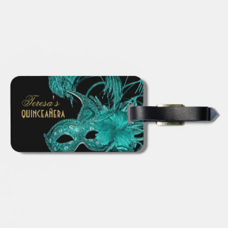 Masquerade quinceañera birthday turquoise mask luggage tag