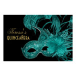 Masquerade quinceañera birthday turquoise mask print
