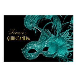 Masquerade quinceañera birthday turquoise mask poster