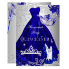 Masquerade Quinceanera Blue Silver Dress Heels Card