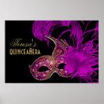 Masquerade quinceañera fifteenth birthday purple posters