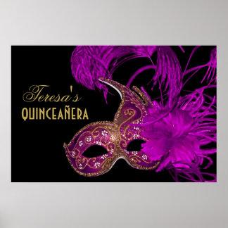 Masquerade quinceañera fifteenth birthday purple poster