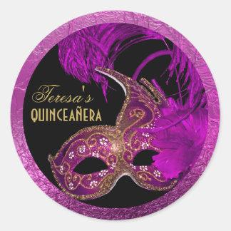 Masquerade quinceañera fifteenth birthday purple round sticker