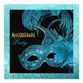Masquerade quinceañera party blue foil card