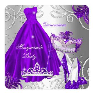 Masquerade Quinceanera Party Purple Silver Dress 13 Cm X 13 Cm Square Invitation Card