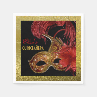 Masquerade Quinceañera party red, faux gold foil Disposable Serviette