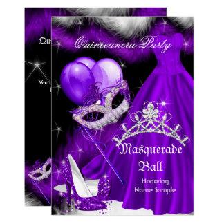 Masquerade Quinceanera Purple Black Feather 2a Card