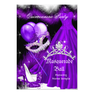 Masquerade Quinceanera Purple Black Feather 2a Card
