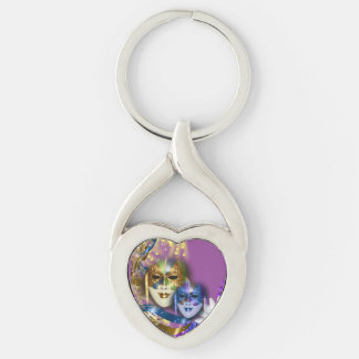 Masquerade quinceanera Venetian masks (heart) Silver-Colored Twisted Heart Key Ring