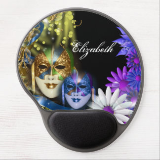Masquerade quinceanera Venetian masks PERSONALIZE Gel Mouse Pad