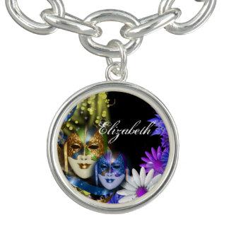 Masquerade quinceanera Venetian masks PERSONALIZE Charm Bracelet