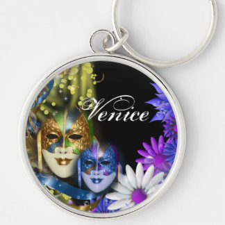 Masquerade quinceanera Venetian masks PERSONALIZE Silver-Colored Round Key Ring