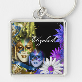 Masquerade quinceanera Venetian masks PERSONALIZE Silver-Colored Square Key Ring