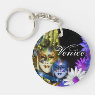 Masquerade quinceanera Venetian masks PERSONALIZE Single-Sided Round Acrylic Key Ring