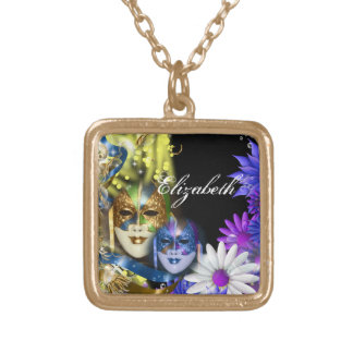 Masquerade quinceanera Venetian masks PERSONALIZE Square Pendant Necklace