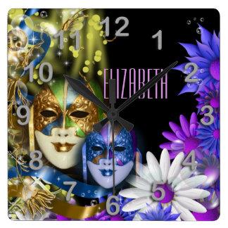 Masquerade quinceanera Venetian masks PERSONALIZE Square Wall Clock