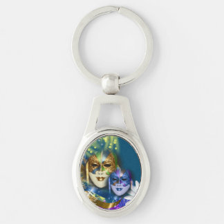 Masquerade quinceanera Venetian masks Silver-Colored Oval Key Ring