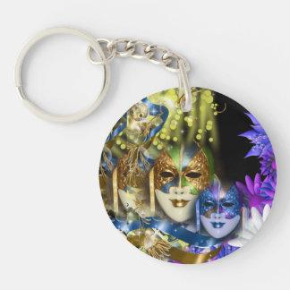 Masquerade quinceanera Venetian masks Single-Sided Round Acrylic Key Ring