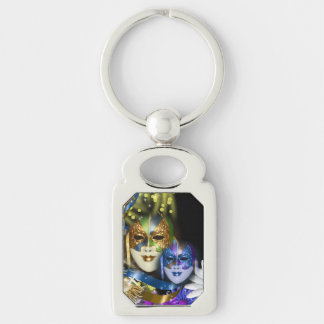 Masquerade quinceanera Venetian masks square Silver-Colored Rectangle Key Ring