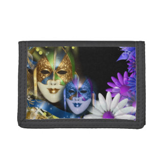 Masquerade quinceanera Venetian masks Trifold Wallet