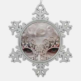 Masquerade Snowflake Pewter Christmas Ornament