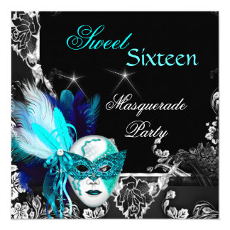 Masquerade Sweet 16 Mask Teal Blue Black Party 13 Cm X 13 Cm Square Invitation Card