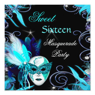 Masquerade Sweet 16 Sixteen Teal Blue Mask Party 13 Cm X 13 Cm Square Invitation Card