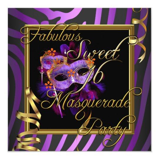 Masquerade Sweet 16 Sweet Sixteen Gold Purple Card