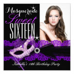 Masquerade Sweet Sixteen Sweet 16 Purple Black 13 Cm X 13 Cm Square Invitation Card
