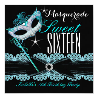 Masquerade Sweet Sixteen Sweet 16 Teal Blue 13 Cm X 13 Cm Square Invitation Card