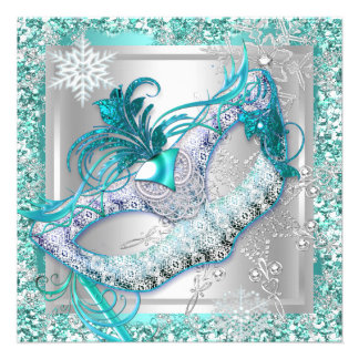 Masquerade Teal Blue Silver Snowflakes Masks Party 13 Cm X 13 Cm Square Invitation Card