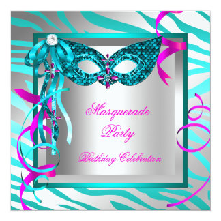 Masquerade Teal Blue Zebra Pink Birthday Party 5.25x5.25 Square Paper Invitation Card