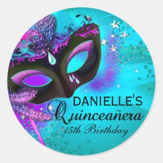 Masquerade Teal & Purple Quinceanera Sticker