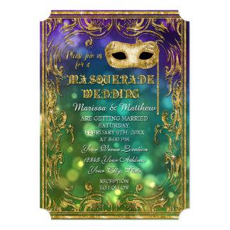 Masquerade Wedding Antique Vintage Mask Bokeh Gold 13 Cm X 18 Cm Invitation Card