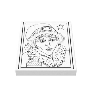 Masquerade Witch Frog Line Art Design Canvas Print