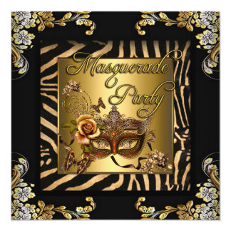 Masquerade Zebra Coffee Black Gold Birthday Party Card