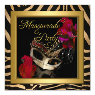 Masquerade Zebra Mask Red Gold Birthday Party 13 Cm X 13 Cm Square Invitation Card